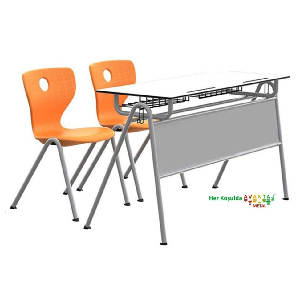 Çift Kişilkik İlk Okul Tipi Ön Sac Perdeli Compact Tablalı Okul Sırası Compact Tablalı Ön Sac Perdeli